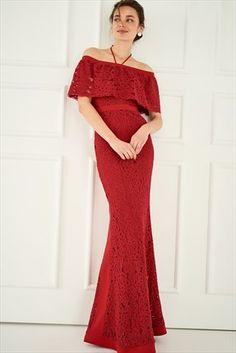 Vişne Carmen Yaka Dantel Elbise