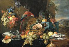 """Still Life with Parrots"" by Jan Davidsz. de Heem, c. 1650."