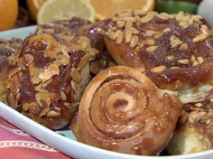 Sticky Buns with Orange Honey Brown Sugar Glaze & Toasted Almonds, Bobby Flay For filling use 1/4 cup white & 1/4 cup light brown sugar