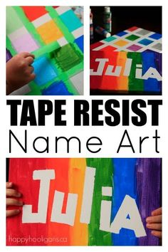 Resist Name Art For Kids of All Ages Tape Resist Name Art For Kids of All Ages! What a fun and easy craft to learn your name or just have fun!Tape Resist Name Art For Kids of All Ages! What a fun and easy craft to learn your name or just have fun! Arts And Crafts For Teens, Easy Arts And Crafts, Toddler Arts And Crafts, Older Kids Crafts, Preschool Arts And Crafts, Toddler Art Projects, Easy Art Projects, Art Projects For Teens, Art Projects For Kindergarteners