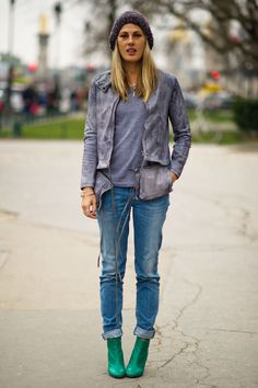Natalie wears a MM6 jacket, Diesel jeans, American Apparel t-shirt, and Michel Perry shoes.