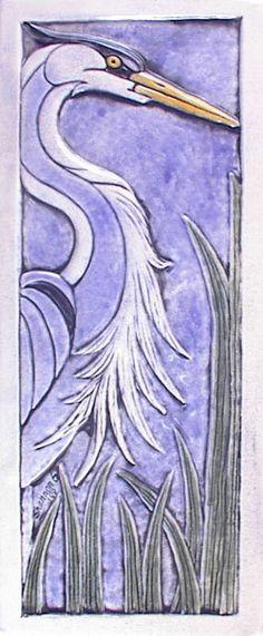 Handmade relief carved handpainted ceramic heron by earthsongtiles