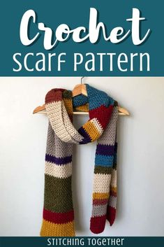 Easy multicolored scarf perfect for men and women. You'll love using this free pattern to make a large and warm scarf. #stitchingtog #crochetscarf Crochet Mens Scarf, Crochet Shawl, Knit Crochet, Crochet Scarves For Men, Crocheted Scarf, Knitting Patterns, Crochet Patterns, Crochet Ideas, Multi Coloured Scarves