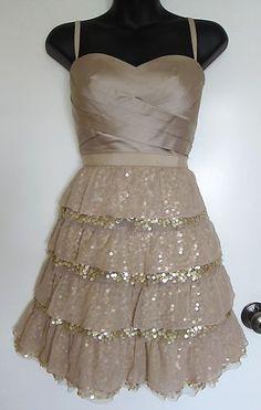 BCBG MAXAZRIA Silk Tiered Dress Champange Sparkle Holiday Xmas Silk Gold 8P 8   eBay $69.99