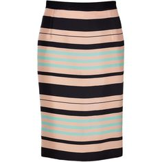 TARA JARMON Mint/Peach/Black Silk Skirt ($295) ❤ liked on Polyvore