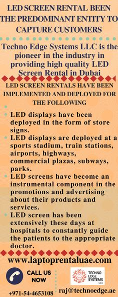 Looking for advertise and market with LED Screens? Reach Techno Edge Systems Provide Latest and Advanced LED Screen Rental in Dubai. Call at @+971-54-4653108.
