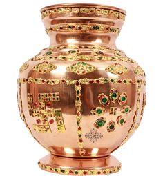 "IndianArtVilla 10.0"" X 5.8"" Handmade 100% Pure Copper Designer Kalash Pot For Use Pooja Home Decorate Weding"