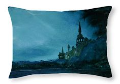 Tower Throw Pillow featuring the painting Teal Vision by Faye Anastasopoulou
