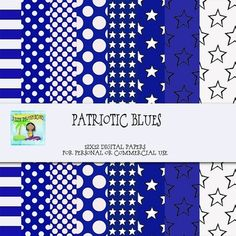 FREE Patriotic Blues Digital Backgrounds