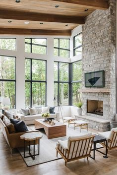 modern meets traditional living room decor, transitional living room design, modern neutral living room design, modern upholstered wood armchairs, mod… - All About Living Room Decor Traditional, Transitional Living Rooms, House Design, Room Design, Interior Design, House Interior, Living Room Decor, Home, Rustic Living Room