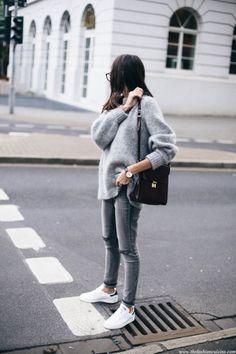 Street Style 2016/2017 - streetstyleplatform: Grey Sweater