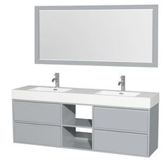 """Wyndham Collection 72"""" W x 18"""" D Dove Gray Daniella Vanity and Porcelain Vanity Top with Integrated Sinks"""