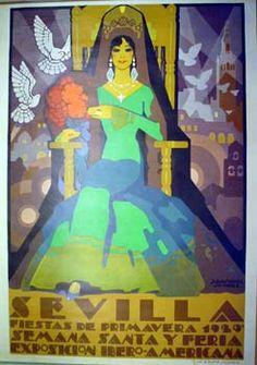 "Foro Cofradias :: Ver tema - CARTELES ""FIESTAS DE PRIMAVERA"" Spain Travel, Travel Posters, Disney Characters, Fictional Characters, Advertising, Ads, Vintage Illustrations, Disney Princess, Collections"