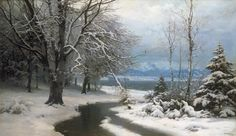 Anders Andersen-Lundby (1840-1923): Winter landscape with brook and sea