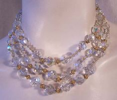 Vendome Vintage Multi Strand Crystal Bead Necklace.