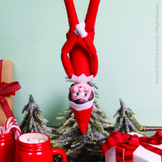 How is this elf topsy-turvy? Click to learn more...| Elf on the Shelf Ideas | Christmas 2016