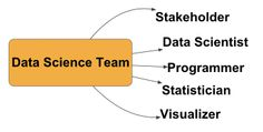 Five roles in a data science team.