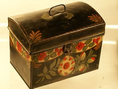 Antique Early Paint Decorated Tin Tole Toleware Box