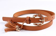 Fashion Women's Candy color PU leather Thin Belt  Skinny Waistband yd19-camel