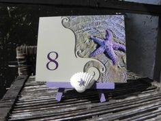 2014 shell beach wedding table numbers, purple starfish wedding table numbers.
