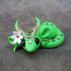 Green Flower Dragon by DragonsAndBeasties on Etsy