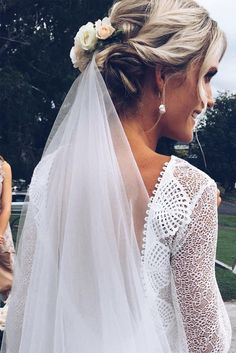Lauren in our MAI gown, KINGA veil & GAIA earring | Grace Loves Lace