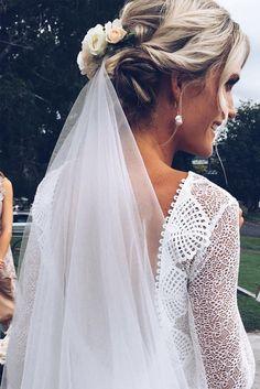 Lauren in our MAI gown, KINGA veil & GAIA earring   Grace Loves Lace