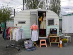 mobile camper vintage clothing pop up shop: