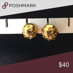 Gold Tory Butch Logo Dome Stud Earrings Tory Butch logo earrings Tory Burch Jewelry Earrings