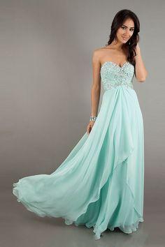 Tween dresses strapless long | Beach Sweetheart Long Chiffon Beaded Elegant Prom Dresses for LessThis ...