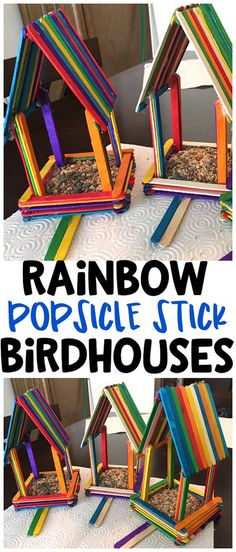 DIY Rainbow popsicle stick birdhouses for kids to make! What a fun spring craft art project for the birds! DIY Rainbow popsicle stick birdhouses for kids to make! What a fun spring craft art project for the birds! Popsicle Stick Birdhouse, Popsicle Stick Art, Popsicle Stick Crafts For Kids, Craft Stick Crafts, Craft Sticks, Bird Crafts, Craft Stick Projects, Craft Kits, Birdhouse Craft