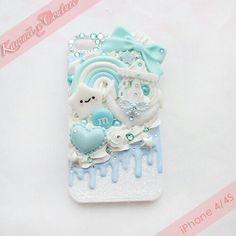 Cute pretty fancy kawaii blue with heart rainbow fantasy iphone phone cover case stars bow  diamonds