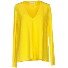 Guardaroba By Aniye By Jumper ($140) ❤ liked on Polyvore featuring tops, sweaters, yellow, v-neck sweater, v neck sweater, yellow top, yellow sweater and long sleeve jumper