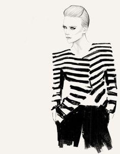 Fashion illustration - chic stripes, black & white fashion drawing // Will Ev