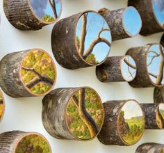 Artist Alison Moritsugu Creates Idealized Depictions of Nature Painted Directly on Tree Logs
