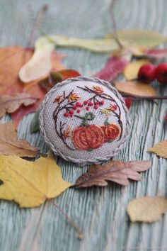 "Embroidered Textile Brooch ""October"" on Livemaster online shop"