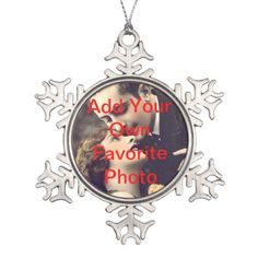 Upload your Favorite Photos with Customizable Snowflake Christmas Ornament - Gifts from The Liberty Dog Store Online