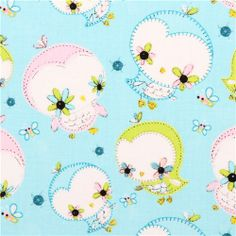 blue owl animal fabric Camelot Dream a Little Dream