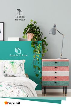 Tem jeito mais gostoso de trazer a natureza para dentro da sua casa do que adicionar plantas ao ambiente? As cores Equilíbrio Total e Respiro da Mata compõem muito bem ambientes com uma atmosfera natural! Textured Walls, Colorful Decor, Decoration, Color Schemes, Sweet Home, New Homes, Living Room, Interior Design, Bedroom