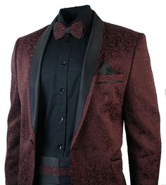 Mens Burgandy Wine Tuxedo Dinner Suit Wedding Prom Black Shawl Collar Slim Fit Bow Tie