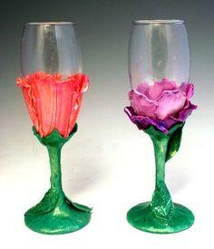 Floral Champagne Glasses