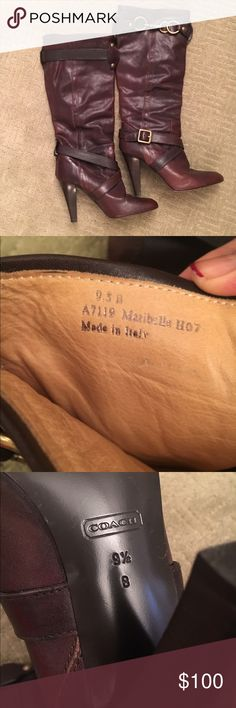 """Chocolate brown boots Lovely chocolate brown Coach boots. Approximately 3.5"""" heel, brass hardware along outside of upper calf with straps around ankle. Made to look somewhat vintage. Please see last pic of missing ankle strap. Coach Shoes Heeled Boots"""