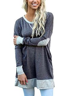 ZKESS Womens Plus Size Cotton Maternity Ladies Casual Long Sleeve Stripes Color Block Tunic Blouse Tops And Shirts Gray XXLarge ** For more information, visit image link. #MaternityTopsBlouses