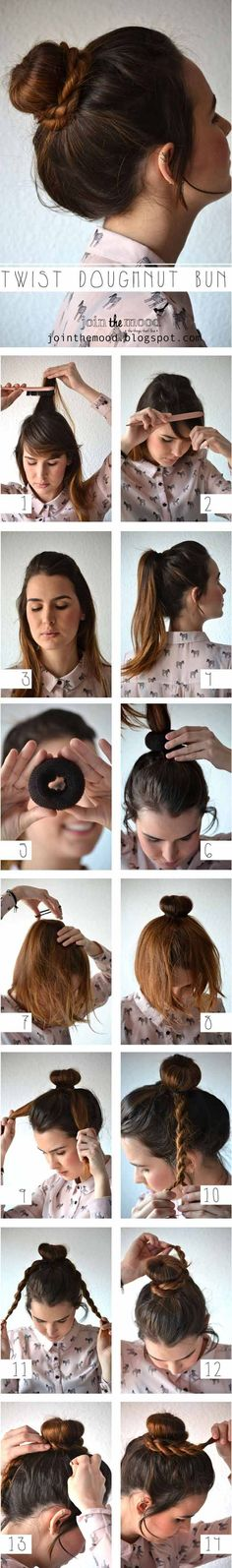 How To Make Twist Doughnut Bun For Your Hair - Hair Tutorials Step By Step Hairstyles, Braided Hairstyles Tutorials, Pretty Hairstyles, Easy Hairstyles, Hair Tutorials, Hairstyle Ideas, Wedding Hairstyles, Updo Hairstyle, Latest Hairstyles