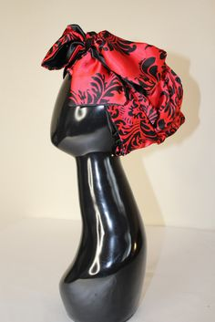 Red Damask Hooded Scarf
