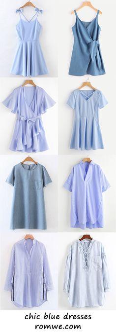 chic blue dresses 2017 - romwe.com