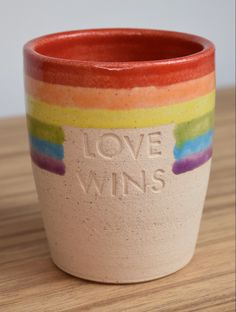 Rainbow coloured multipurpose tumbler available for personalisation at So Long Ceramics! Coffee Wine, Bank Holiday, Gay Pride, Rainbow Colors, Safe Food, Tumbler, Messages, Gift Ideas, Ceramics