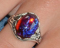 Dragons Breath Ring Fire Opal Statement Rings by MyLimoIsWaiting