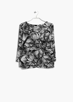 MANGO | Floral print blouse with keyhole detail at back - Wear over a black or white high back top for full cover