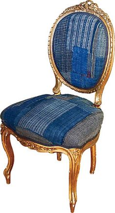 Hand-carved gilded Italian chair, circa 1890, restored and upholstered with vintage Japanese boro,